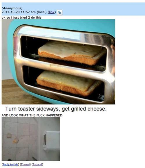 Turn Toaster Sideways And Get Grilled Cheese